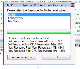 pantalla Dynamic Resource Pool Calculator, DRPC