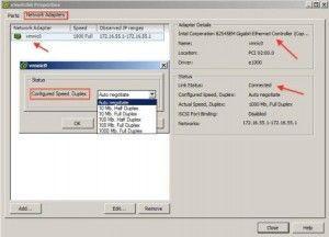 Propiedades de los adaptadores de red en VMware ESXi 5