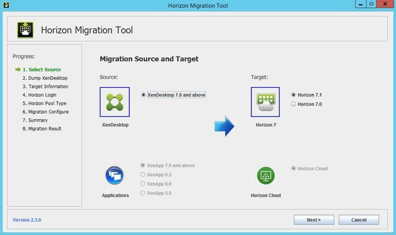 Horizon Migration Tool para Horizon 7